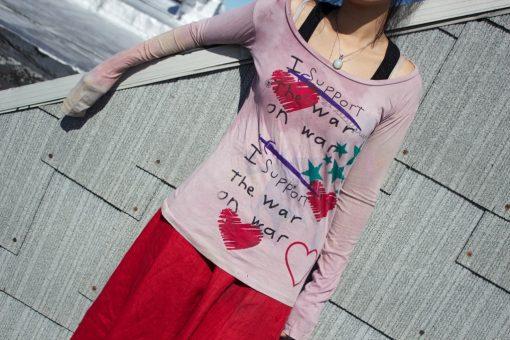 long sleeve pink organic peace t shirt