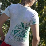 green splatter shirt